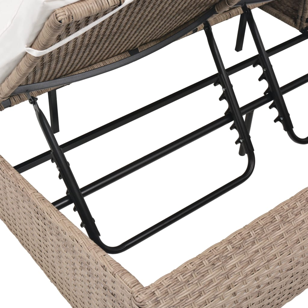 Outdoor Lounge Bed Poly Rattan Beige 8