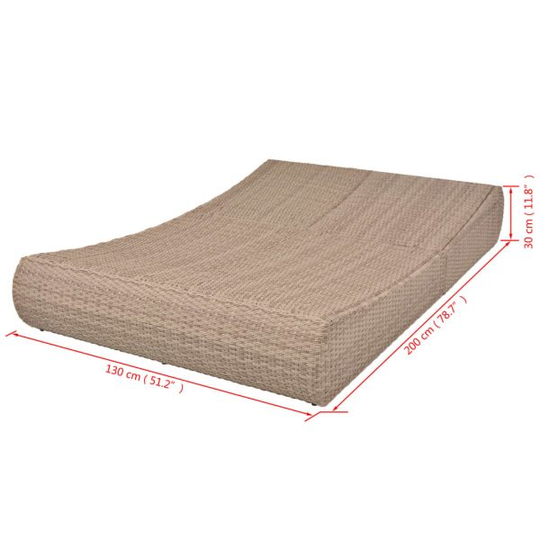 Outdoor Lounge Bed Poly Rattan Beige 9
