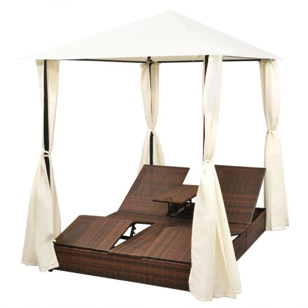 Double Sun Lounger with Curtains Poly Rattan Brown 4
