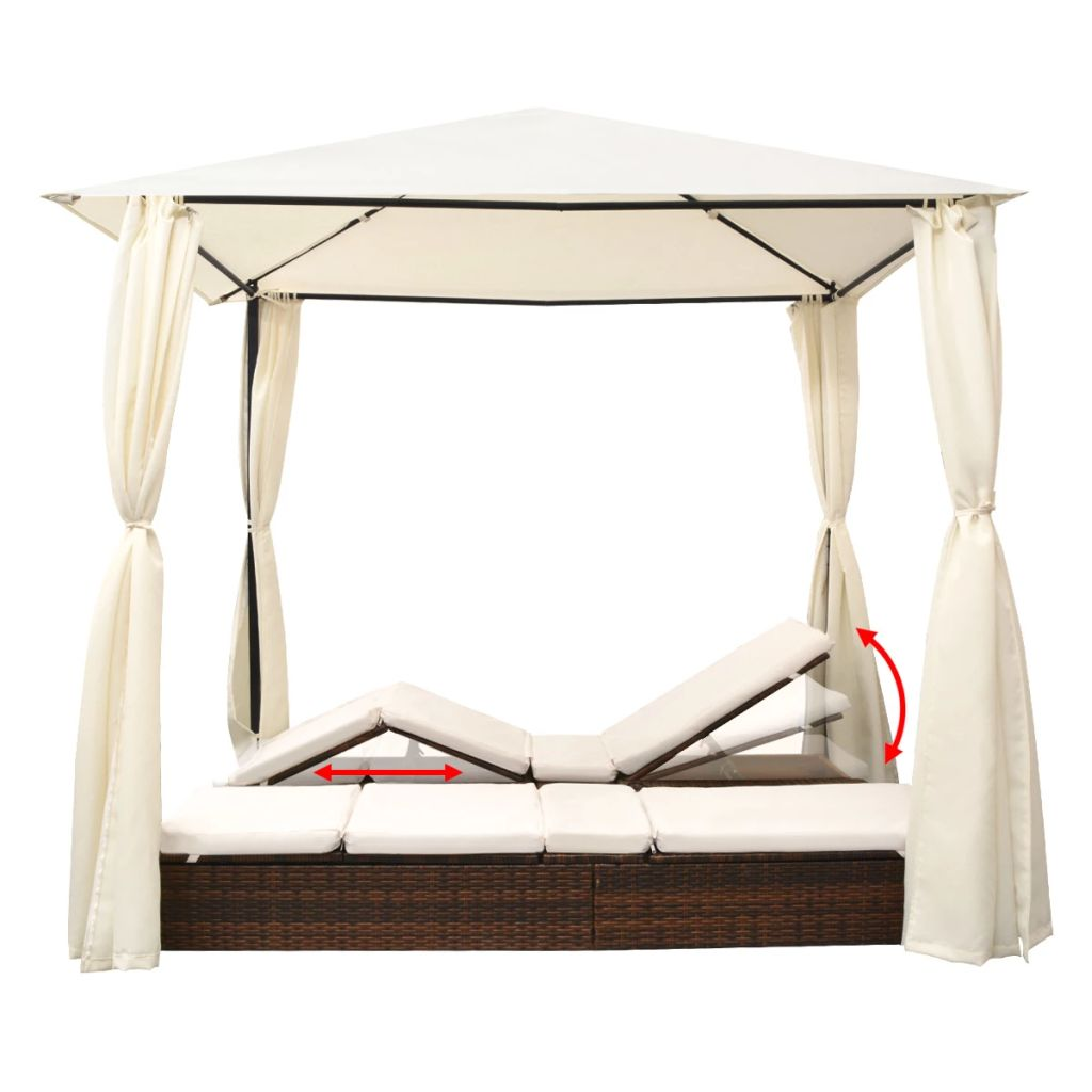 Double Sun Lounger with Curtains Poly Rattan Brown 5