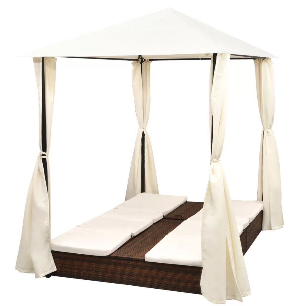 Double Sun Lounger with Curtains Poly Rattan Brown 6