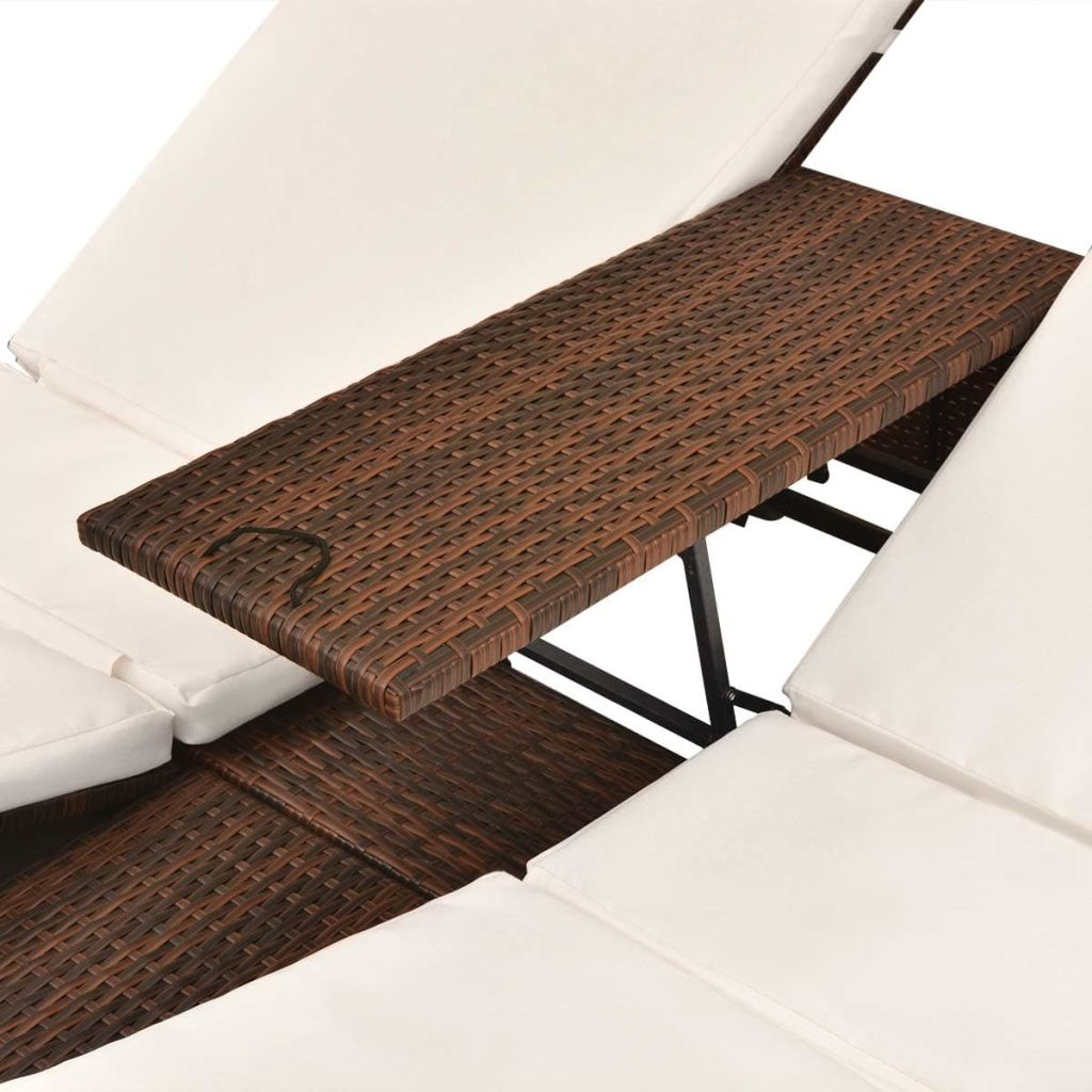 Double Sun Lounger with Curtains Poly Rattan Brown 9