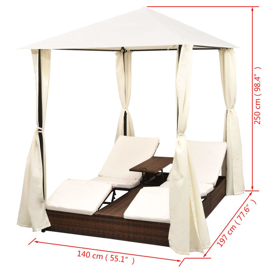Double Sun Lounger with Curtains Poly Rattan Brown 10