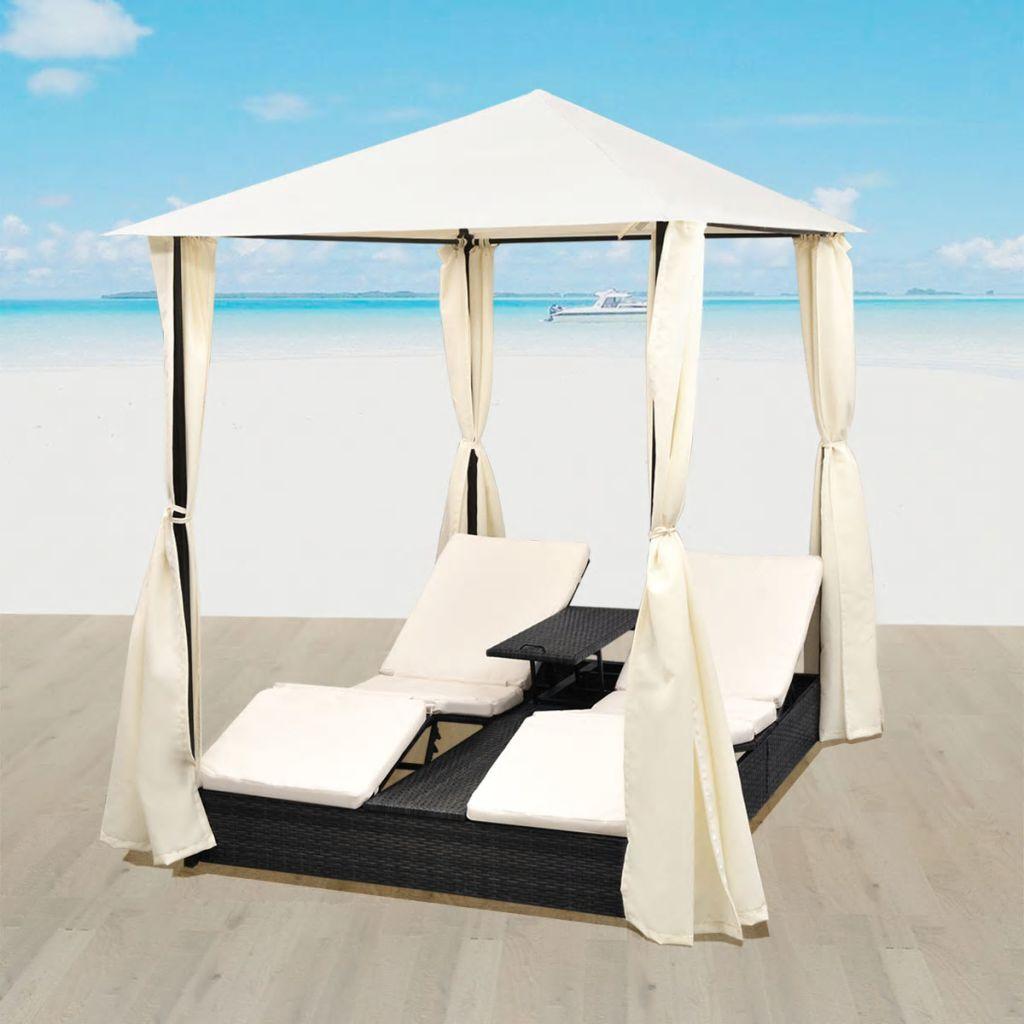 Double Sun Lounger with Curtains Poly Rattan Black