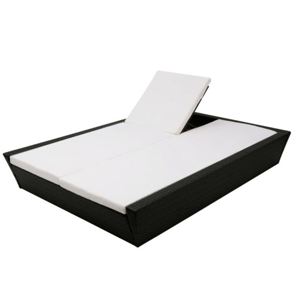 Outdoor Lounge Bed with Cushion Poly Rattan Black 6