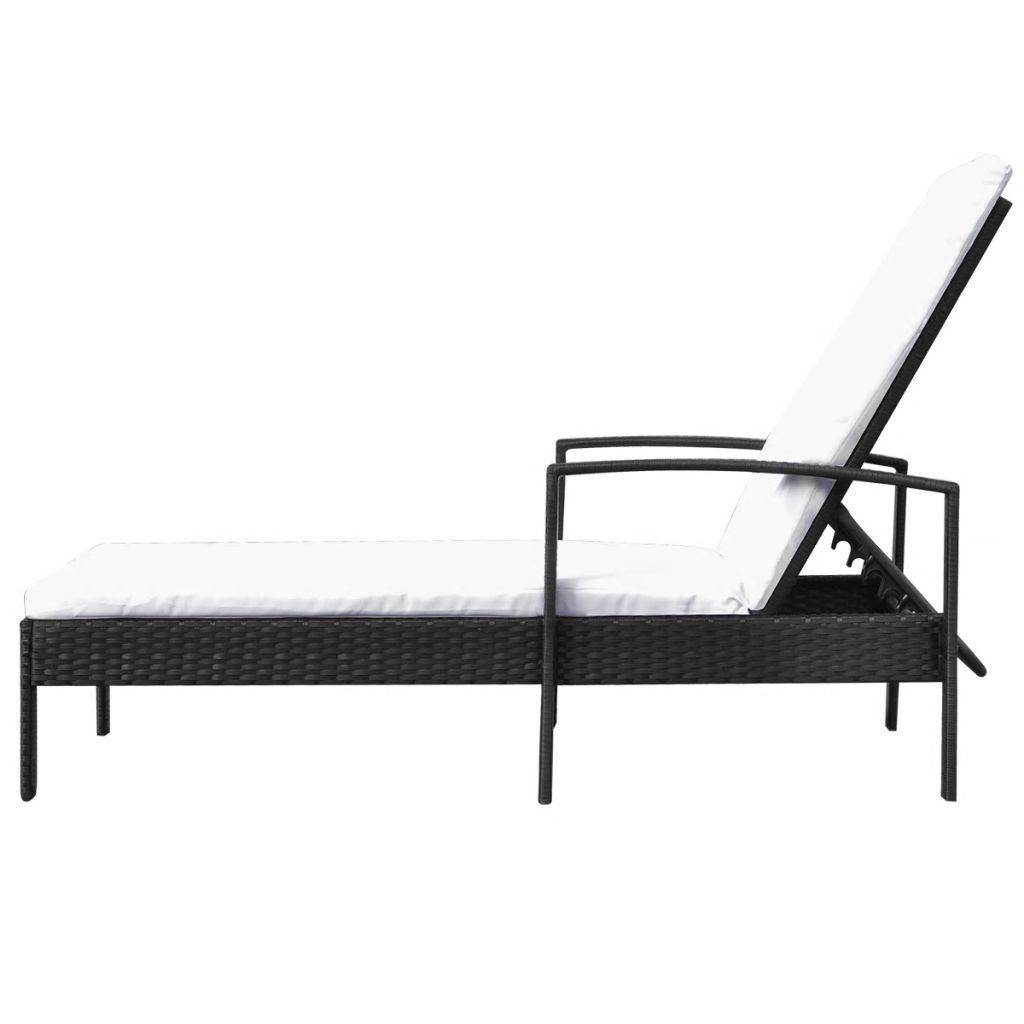 Sun Lounger with Cushion Poly Rattan Black 3