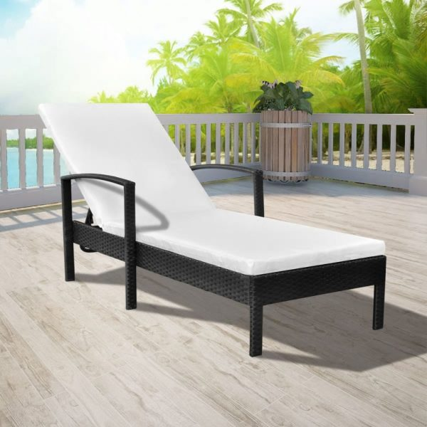 Sun Lounger with Cushion Poly Rattan Black 1