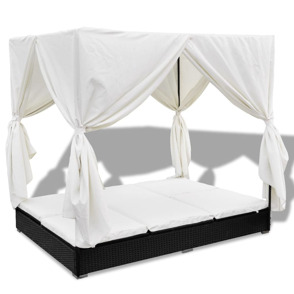Outdoor Lounge Bed with Curtains Poly Rattan Black 2