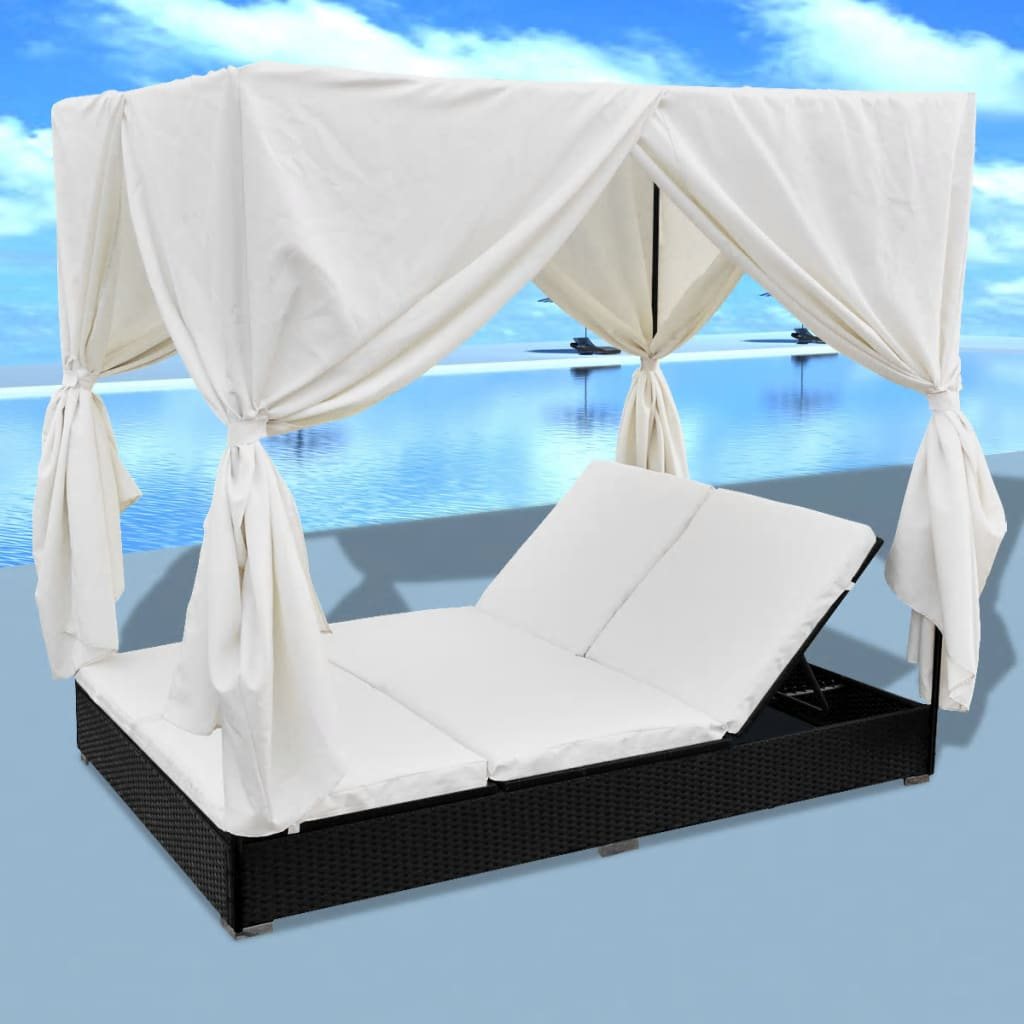 Outdoor Lounge Bed with Curtains Poly Rattan Black 3