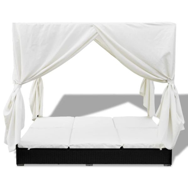 Outdoor Lounge Bed with Curtains Poly Rattan Black 4