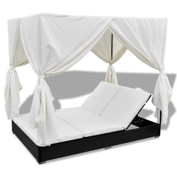 Outdoor Lounge Bed with Curtains Poly Rattan Black 6