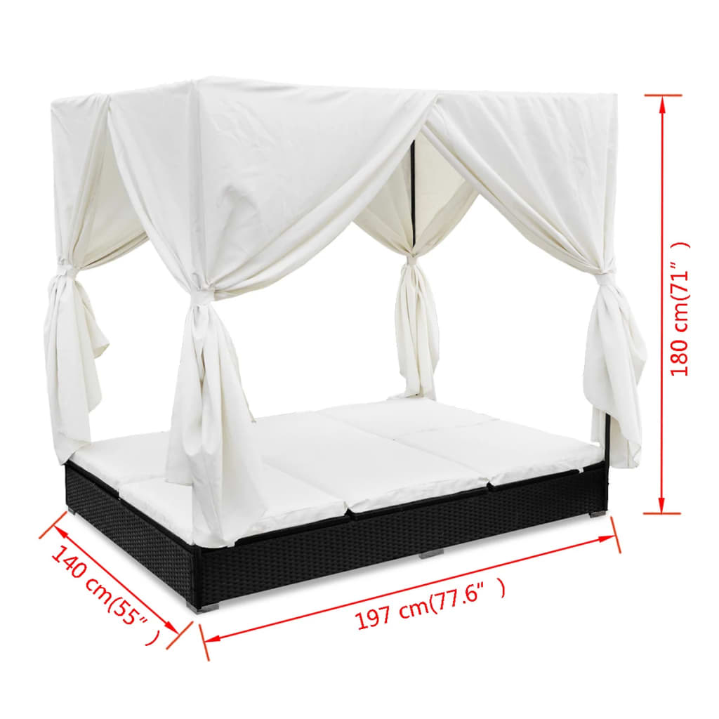 Outdoor Lounge Bed with Curtains Poly Rattan Black 11