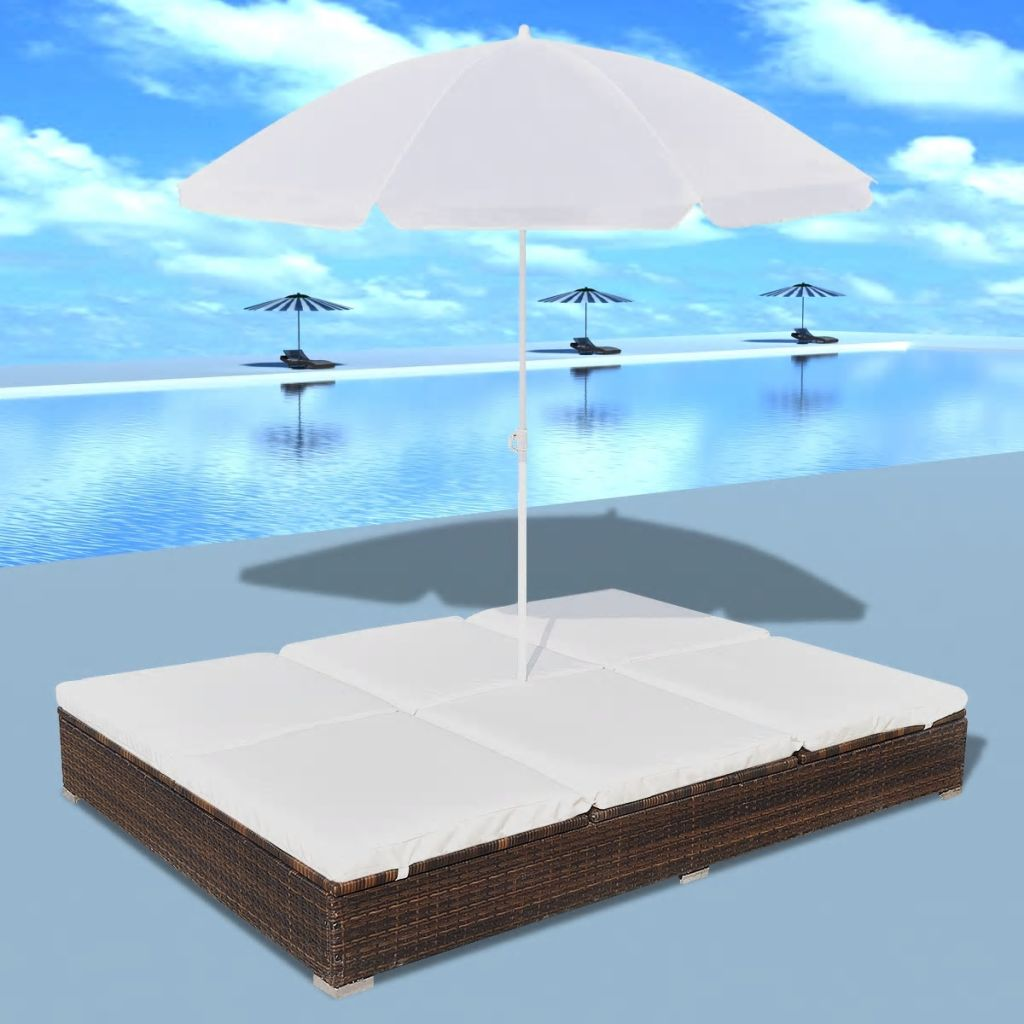 Outdoor Lounge Bed with Umbrella Poly Rattan Brown