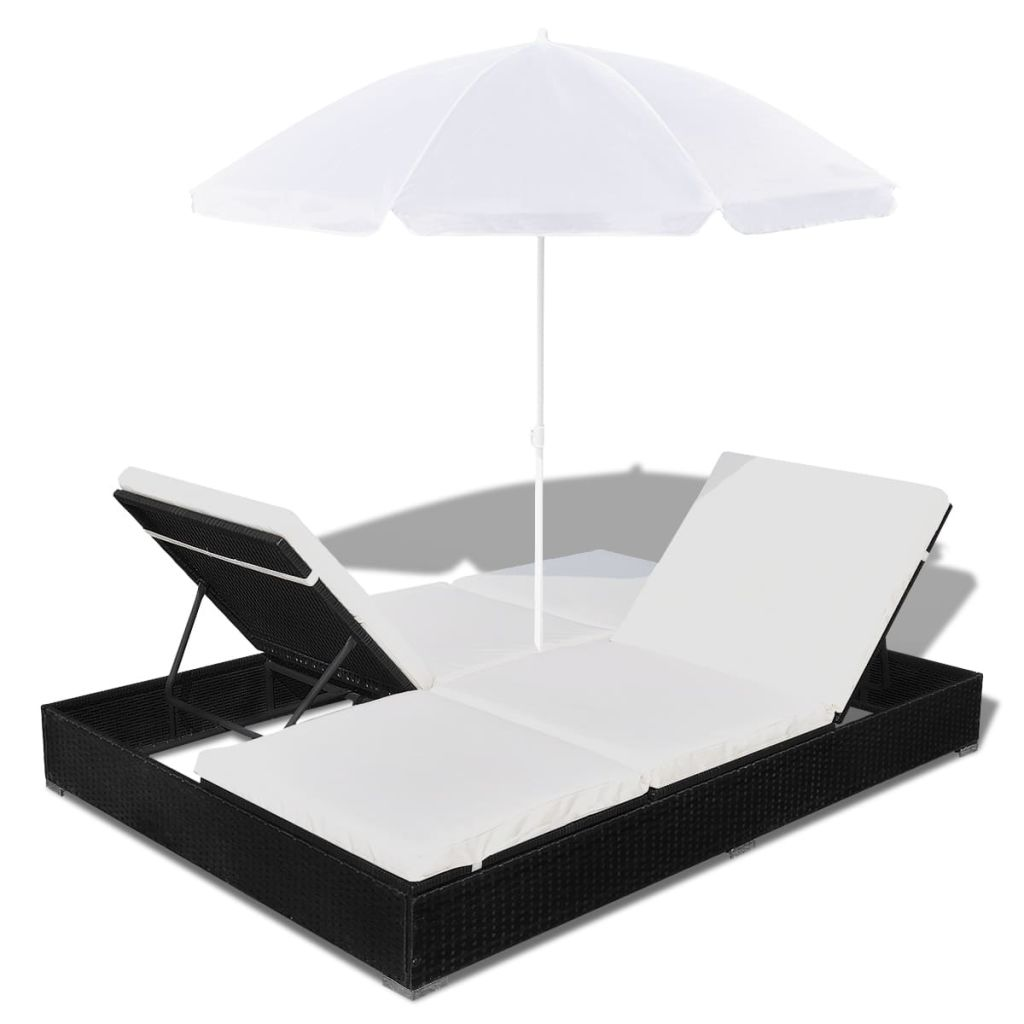 Outdoor Lounge Bed with Umbrella Poly Rattan Black 7