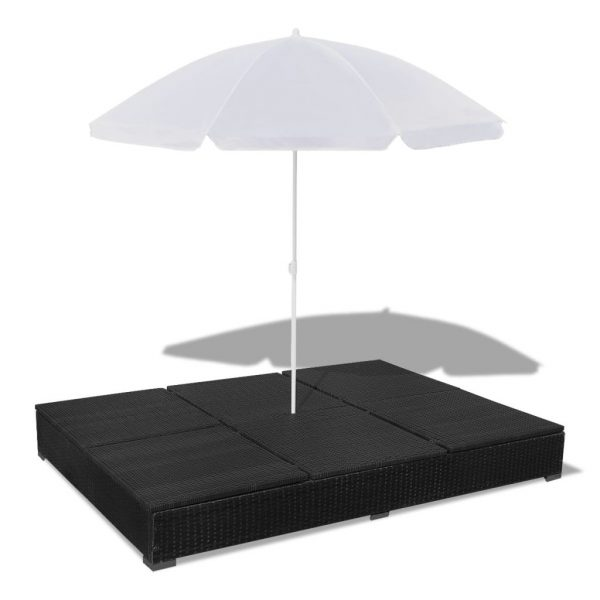 Outdoor Lounge Bed with Umbrella Poly Rattan Black 8