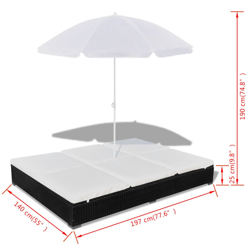 Outdoor Lounge Bed with Umbrella Poly Rattan Black 10