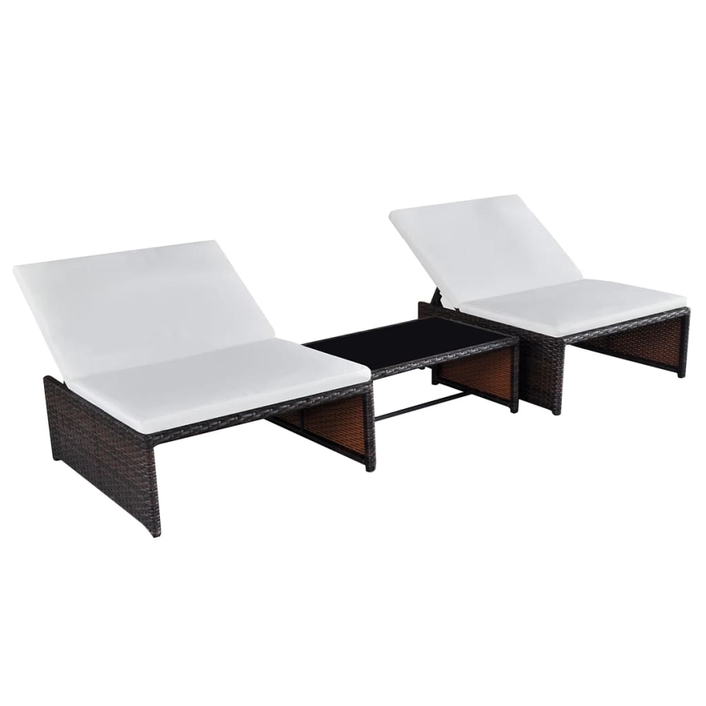 Sun Loungers 2 pcs with Table Poly Rattan Brown