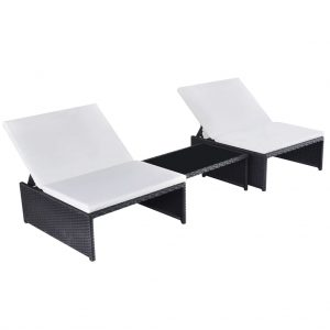 Sun Loungers 2 pcs with Table Poly Rattan Black