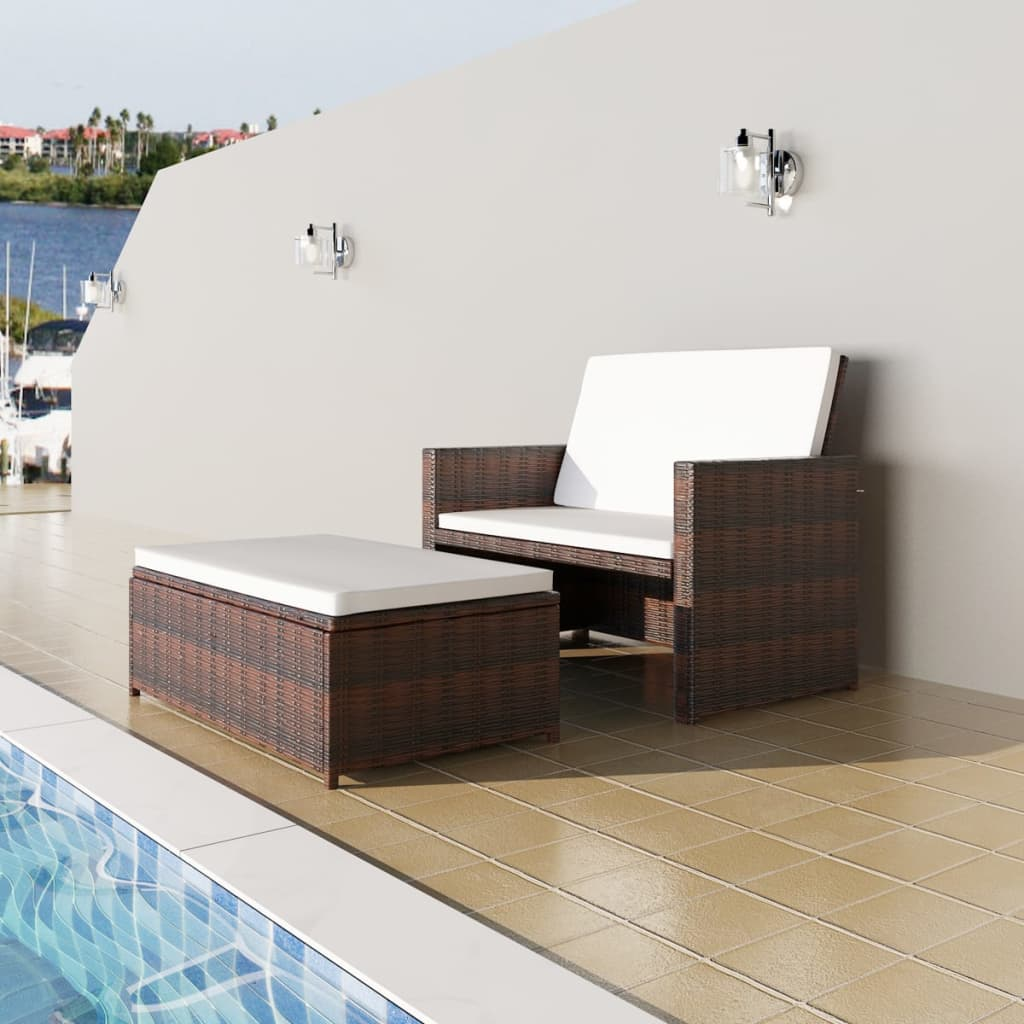 Garden Sofa Poly Rattan Brown