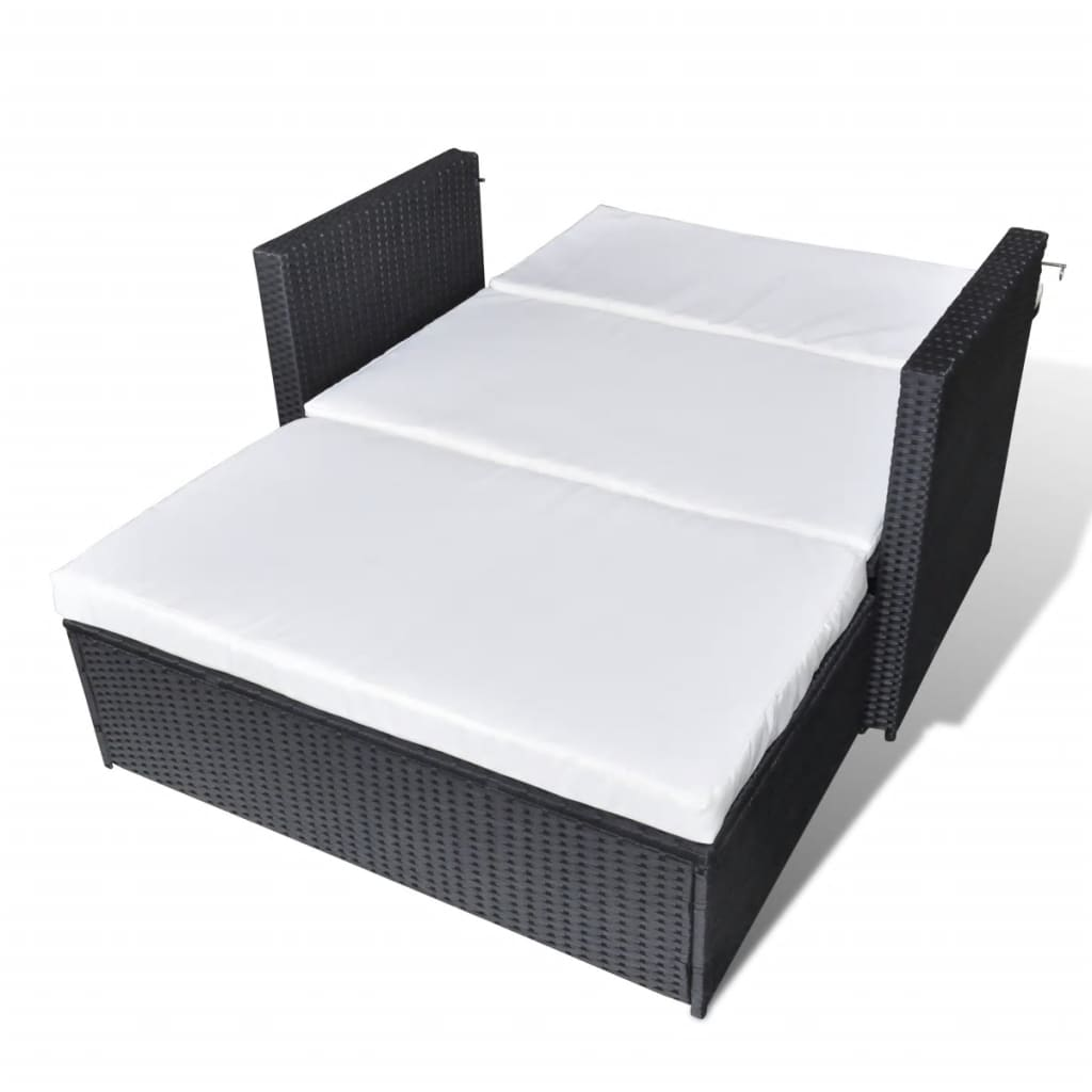 2 Piece Garden Lounge Set with Cushions Poly Rattan Black 5
