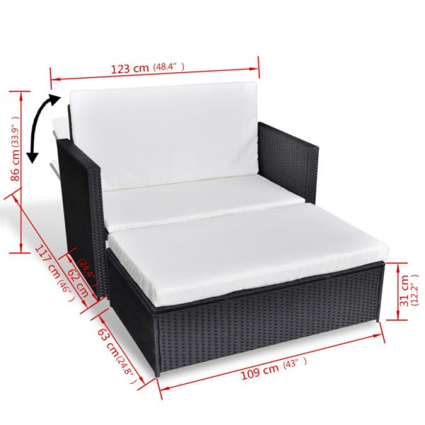 2 Piece Garden Lounge Set with Cushions Poly Rattan Black 6