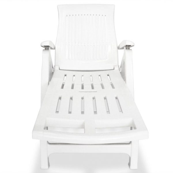Sun Lounger with Footrest Plastic White 2