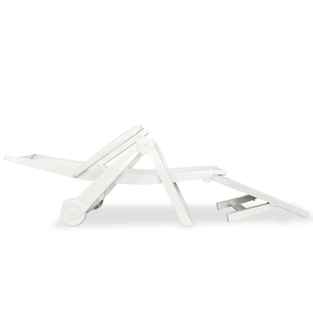 Sun Lounger with Footrest Plastic White 3