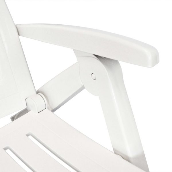 Sun Lounger with Footrest Plastic White 4
