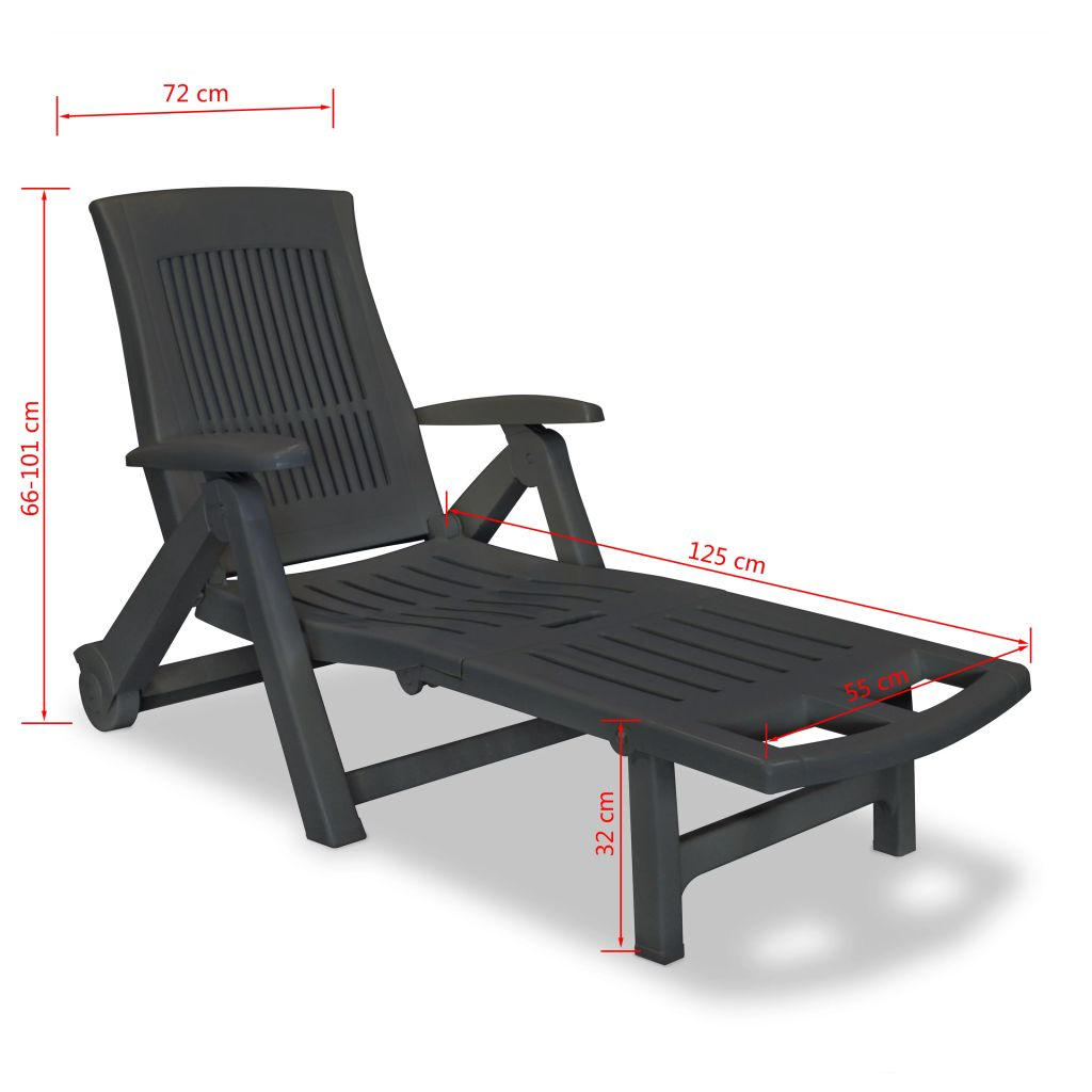 Sun Lounger with Footrest Plastic Anthracite 8