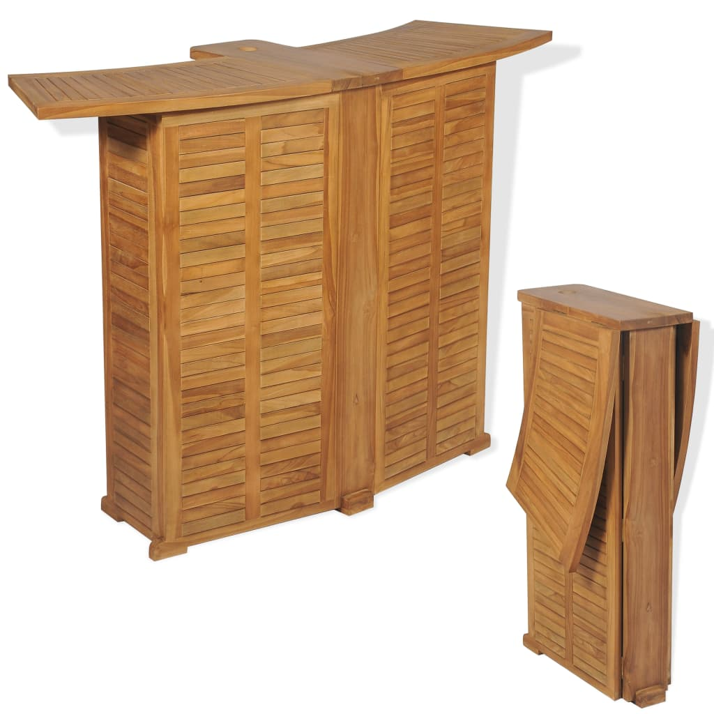 Folding Bar Table 155x53x105 cm Solid Teak Wood