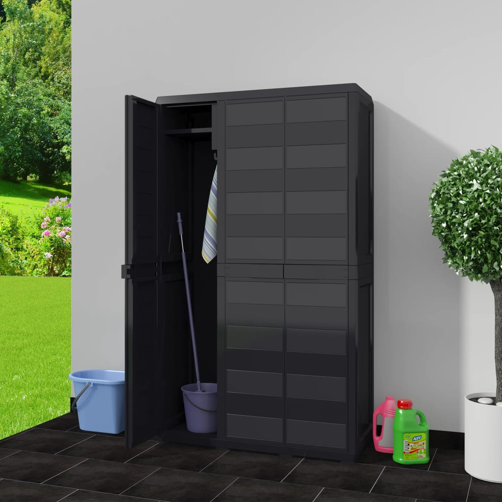 Garden Storage Cabinet with 4 Shelves Black 2