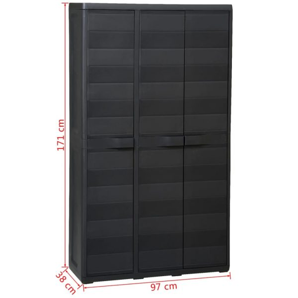 Garden Storage Cabinet with 4 Shelves Black 11