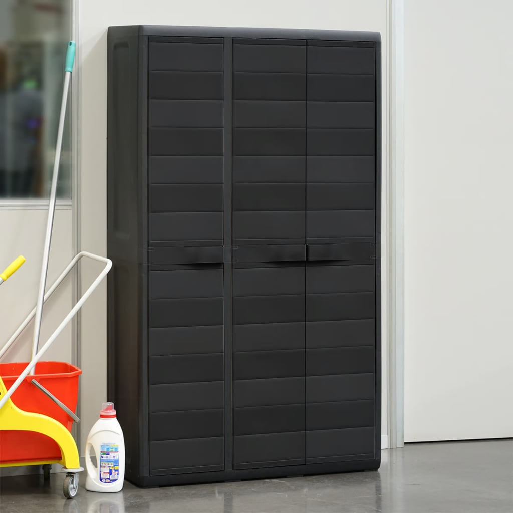 Garden Storage Cabinet with 4 Shelves Black 3