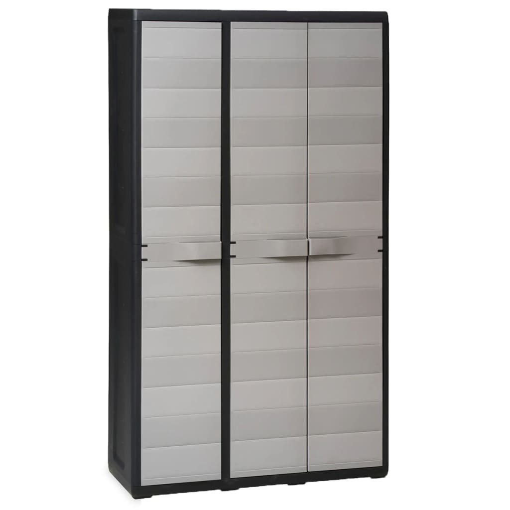 Garden Storage Cabinet with 4 Shelves Black and Grey