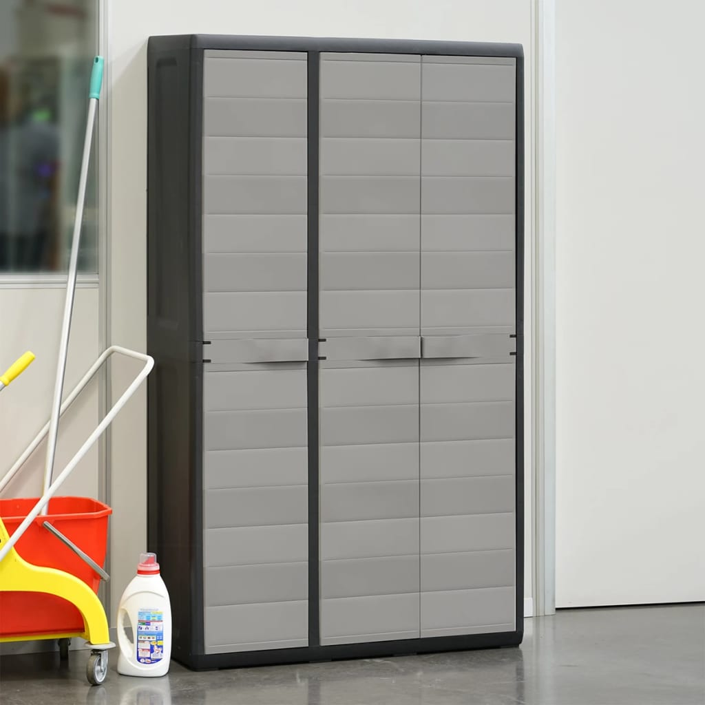 Garden Storage Cabinet with 4 Shelves Black and Grey 3
