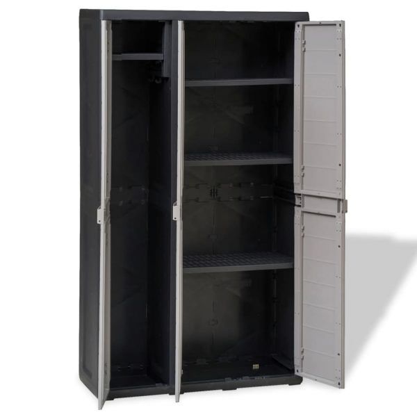 Garden Storage Cabinet with 4 Shelves Black and Grey 8
