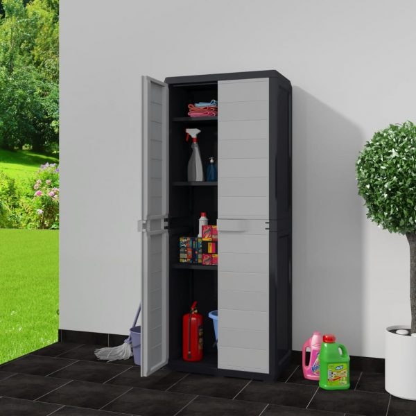Garden Storage Cabinet with 3 Shelves Black and Grey 2
