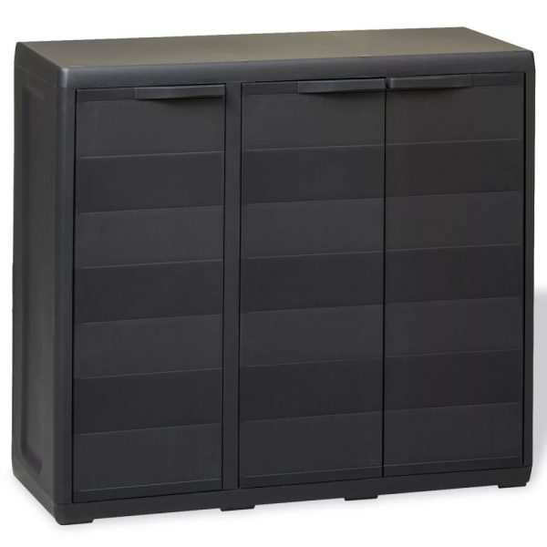 Garden Storage Cabinet with 2 Shelves Black 1