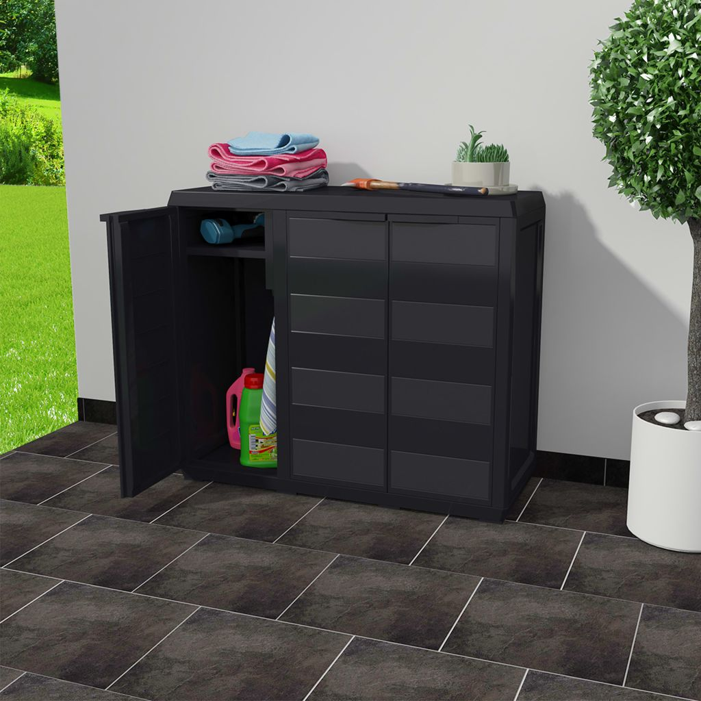Garden Storage Cabinet with 2 Shelves Black 2