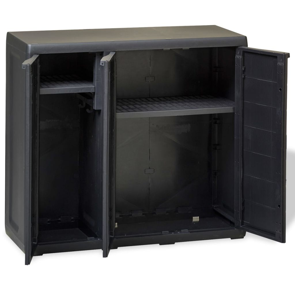 Garden Storage Cabinet with 2 Shelves Black 6