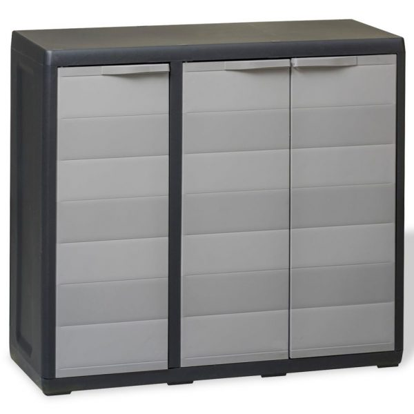Garden Storage Cabinet with 2 Shelves Black and Grey 1