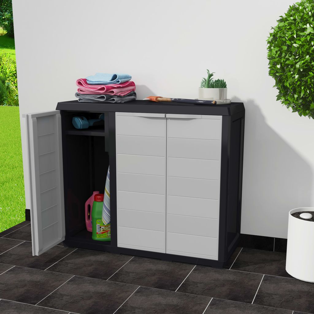 Garden Storage Cabinet with 2 Shelves Black and Grey 2
