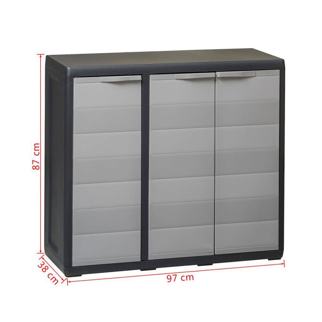 Garden Storage Cabinet with 2 Shelves Black and Grey 9