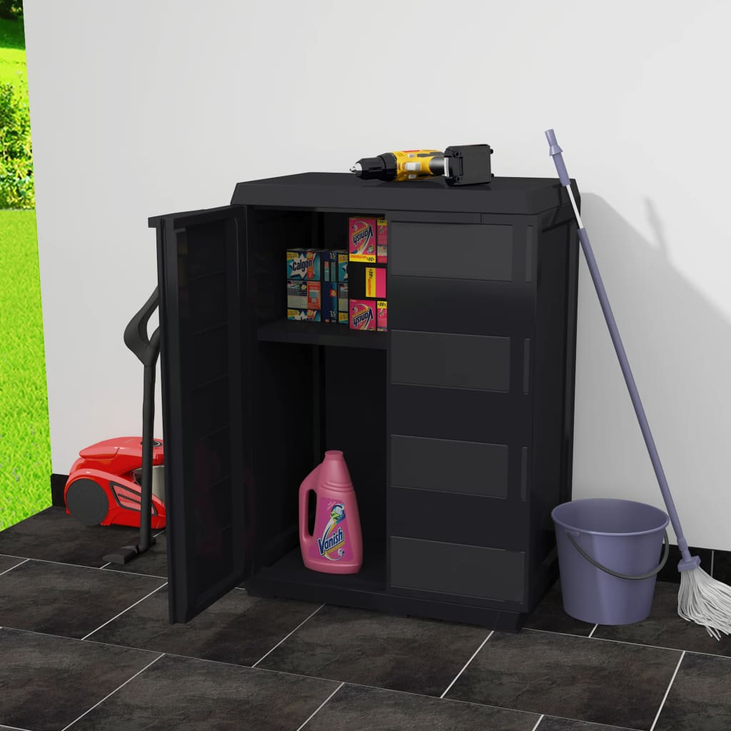 Garden Storage Cabinet with 1 Shelf Black 2
