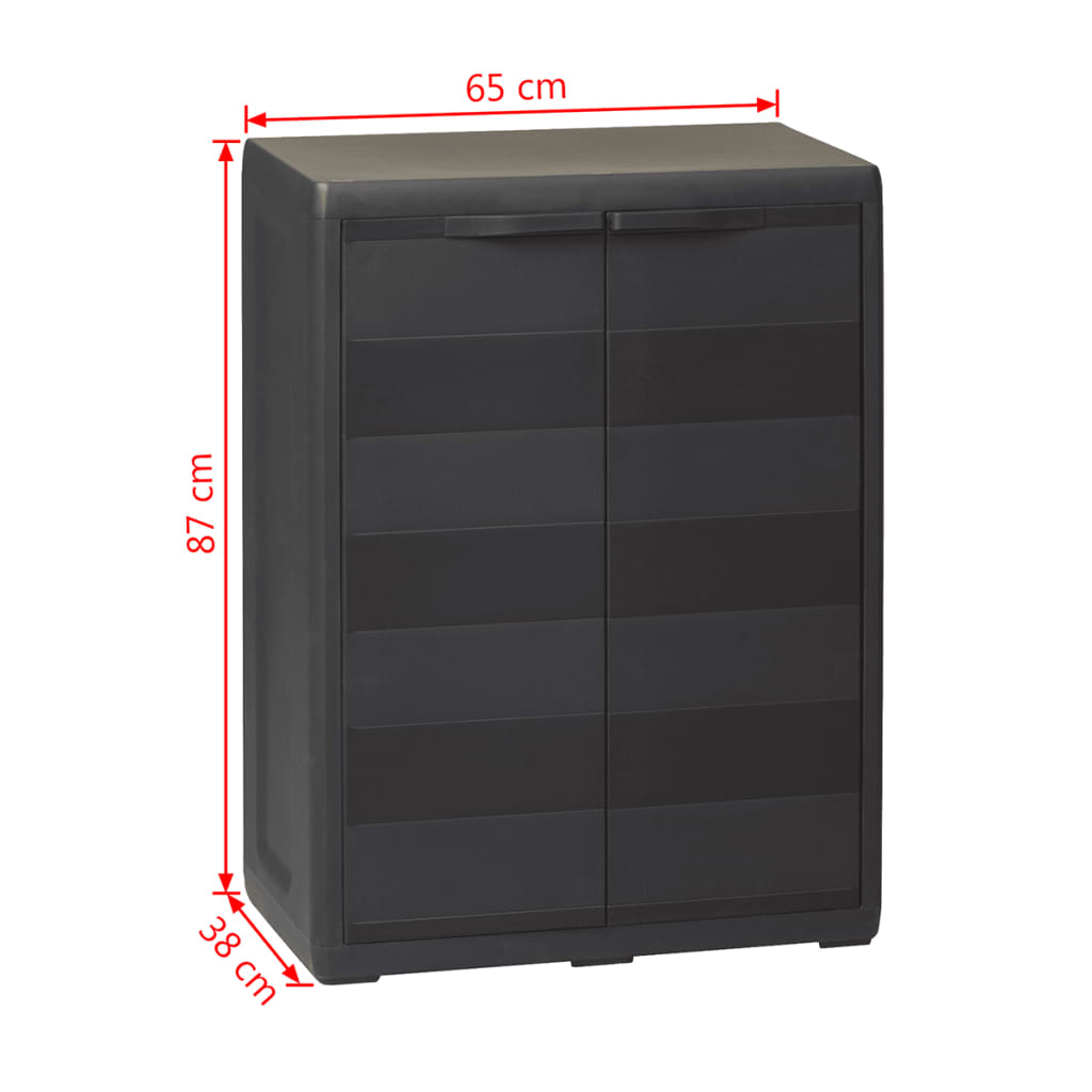 Garden Storage Cabinet with 1 Shelf Black 9