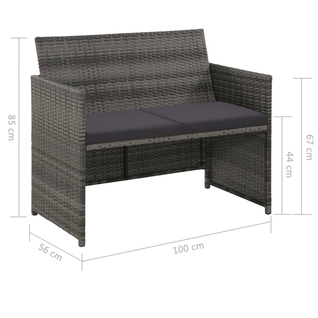 2 Seater Garden Sofa with Cushions Grey Poly Rattan 2