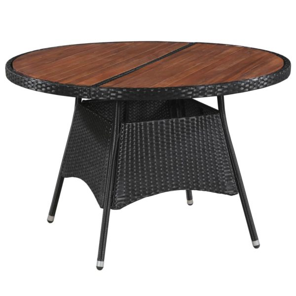 Garden Table 115×74 cm Poly Rattan and Solid Acacia Wood 1