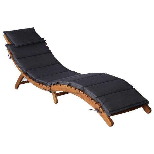 Sun Lounger with Cushion Solid Acacia Wood 1