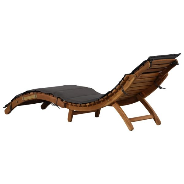Sun Lounger with Cushion Solid Acacia Wood 3