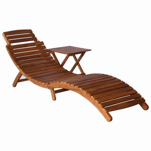 Sunlounger with Table Solid Acacia Wood Brown 1